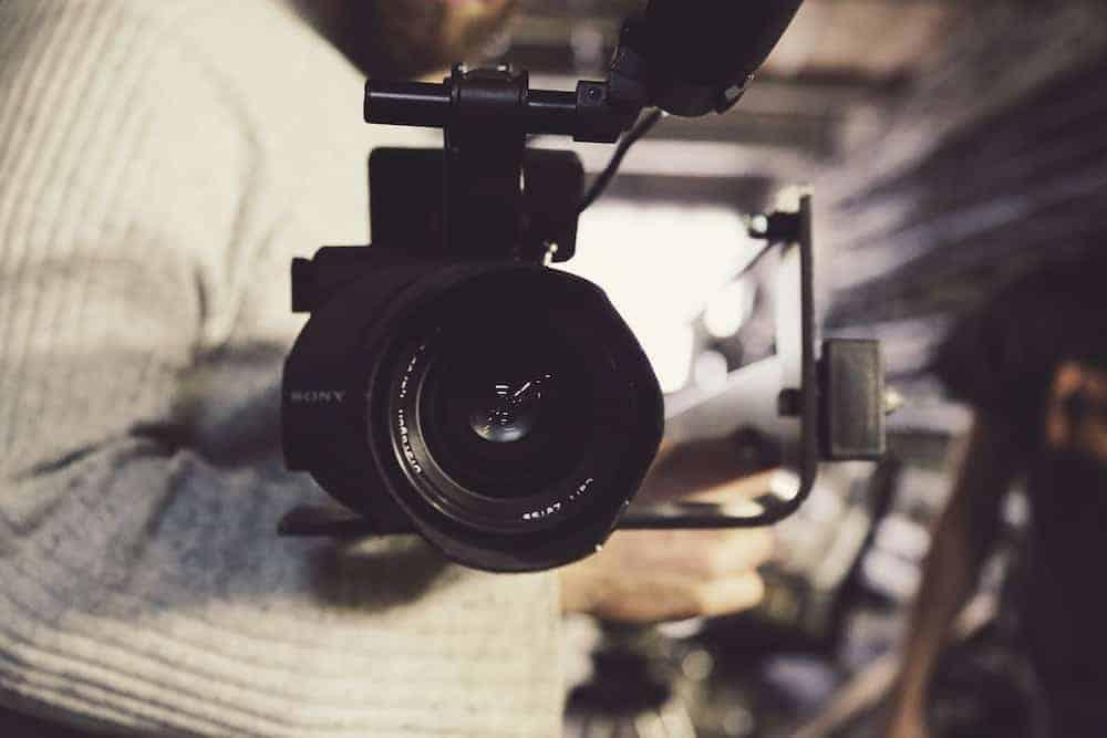 close up of video camera