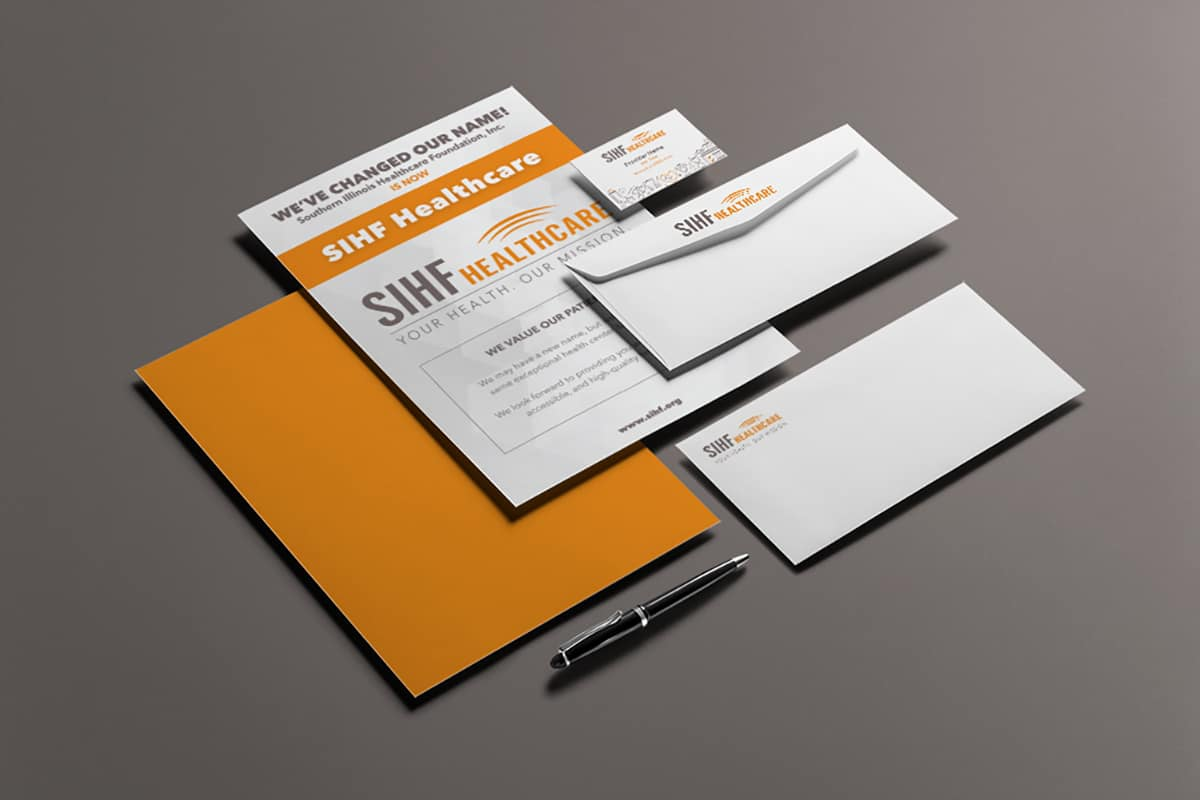graphic design collateral including flyer, envelope, business card