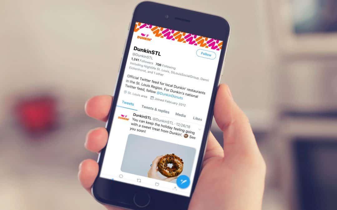 Franchise marketing of dunkin donuts via twitter on a cell phone