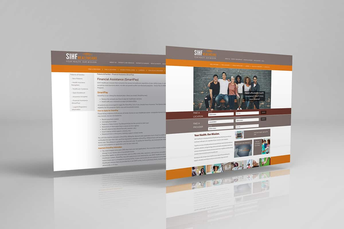 mockup of sihf healthcare's website on gray background