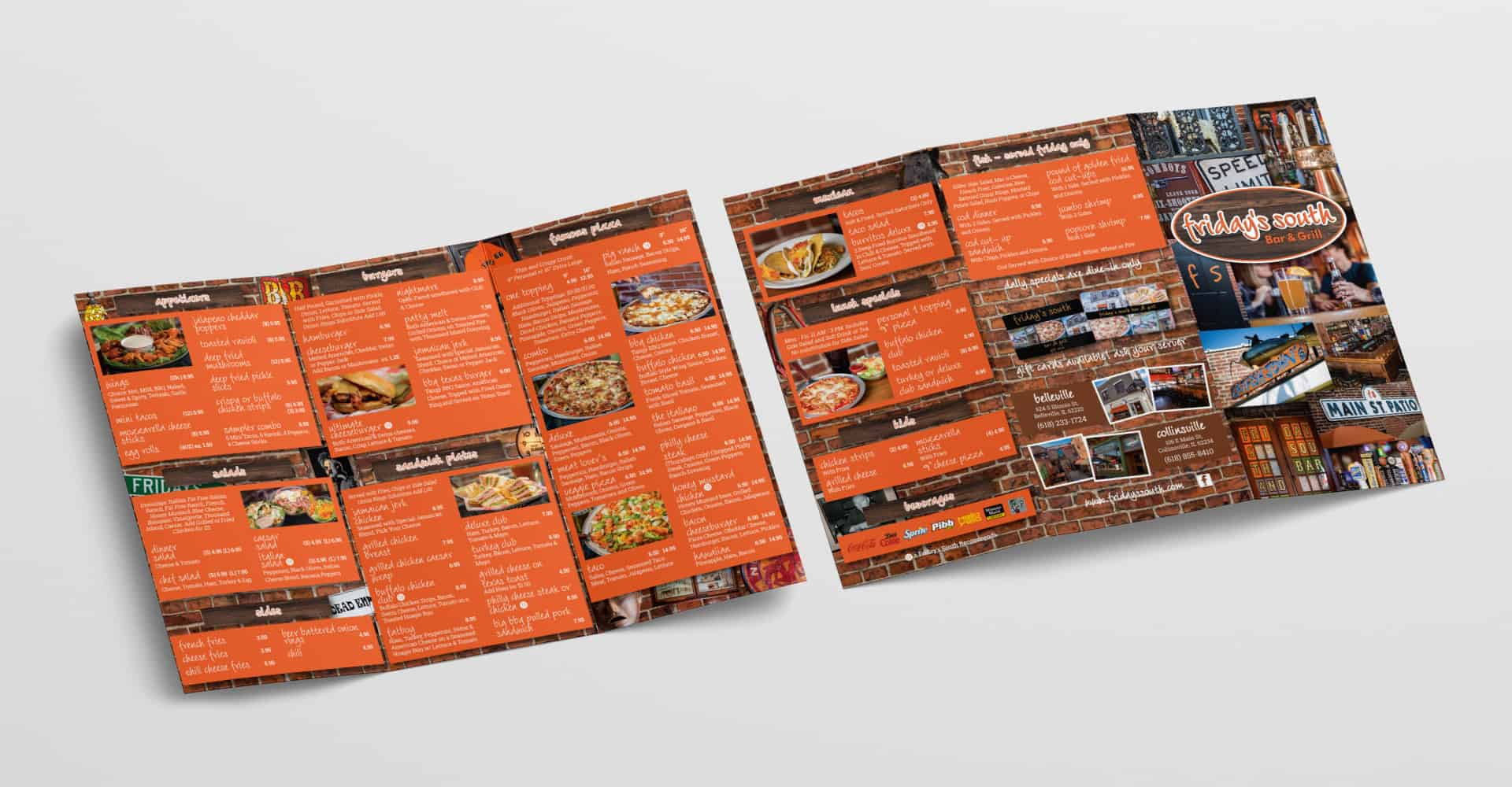 Friday's South trifold menu brochure