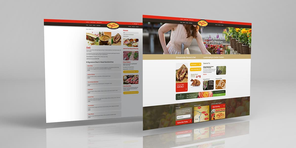 Joe's Market Basket website mockup on gray backdrop