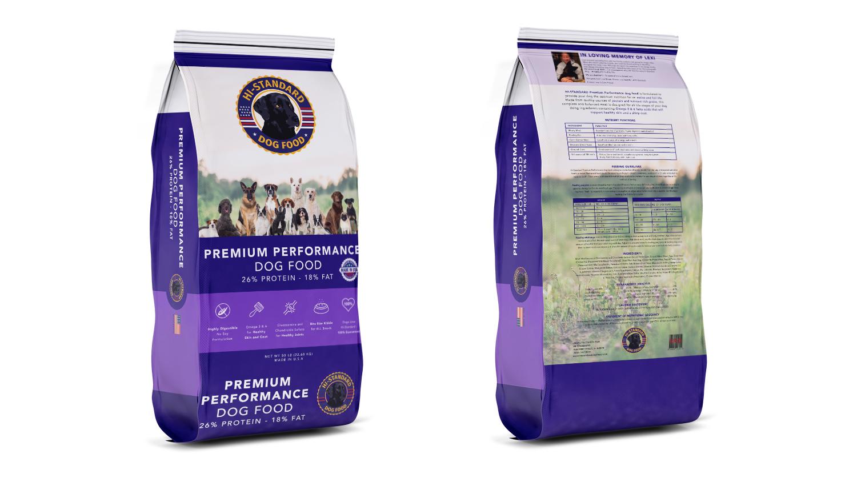 hi standard purple dog food bag