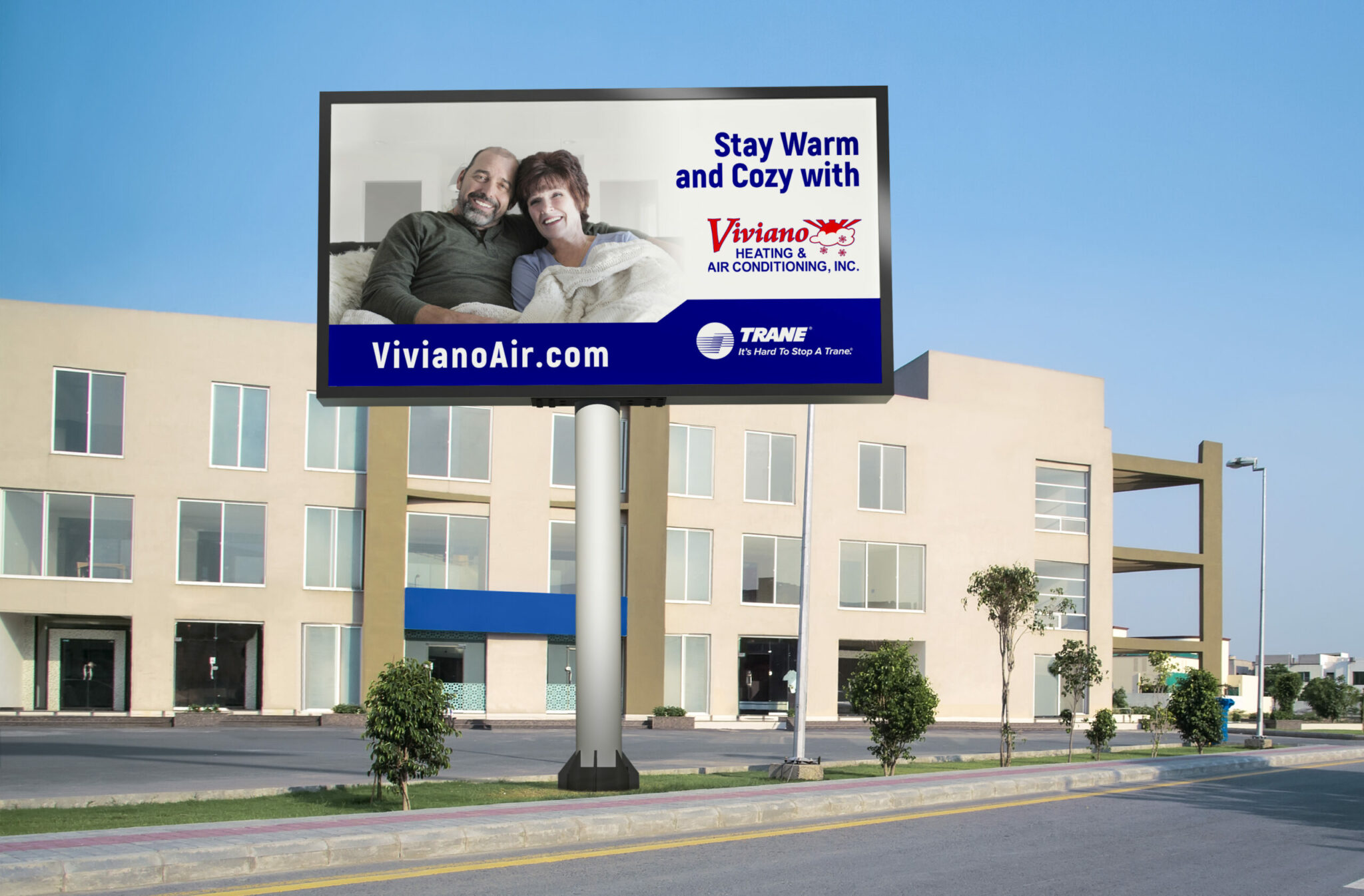 Viviano billboard in front of a corporate building