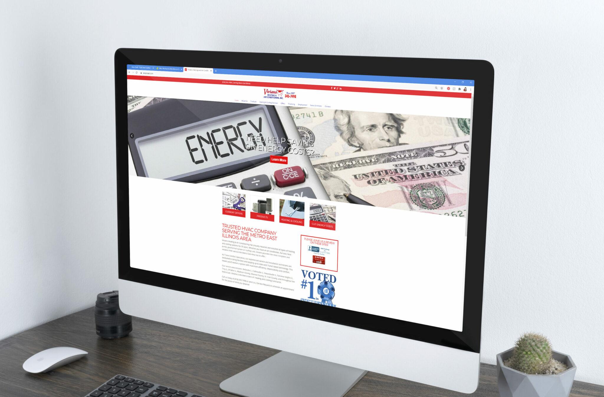 Viviano website on an iMac desktop computer