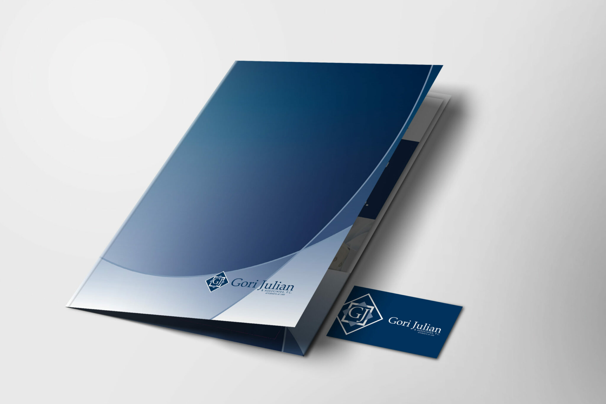 Gori Law folder and business card