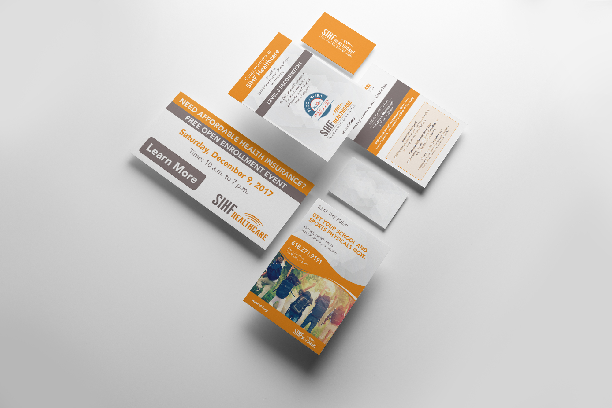 Set of SIHF Healthcare stationary and business cards