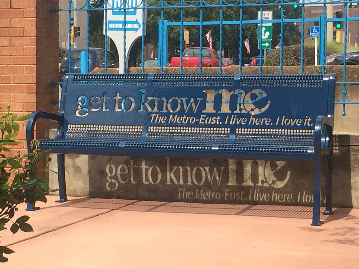 Get to Know M.E. blue bench