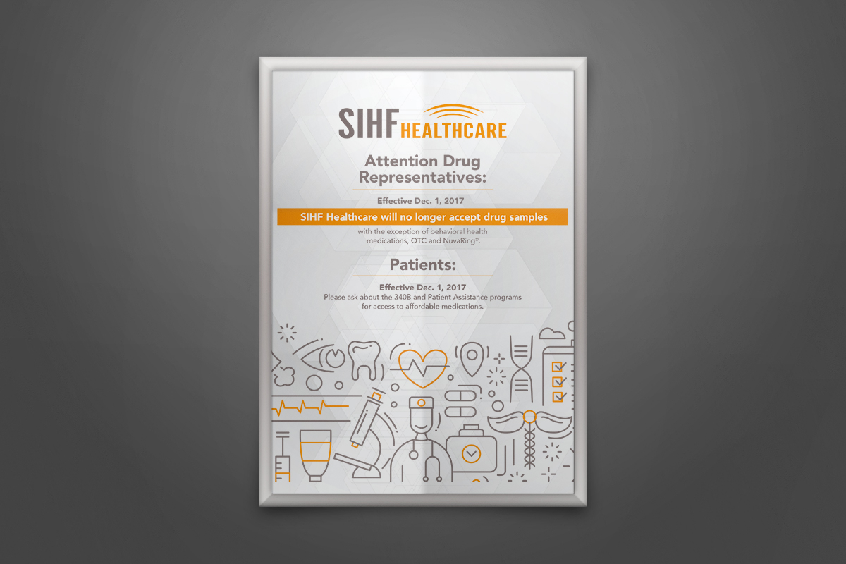 framed SIHF poster on a gray way